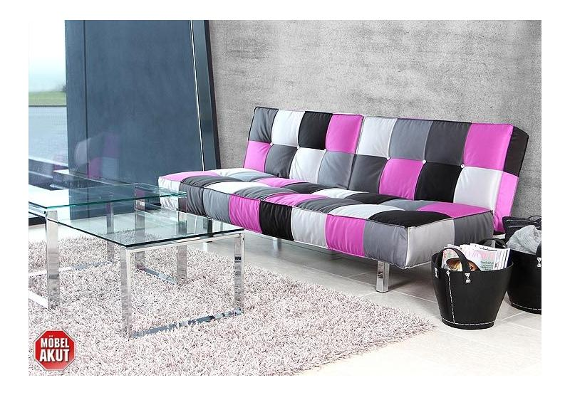 sofa jaxon schlafsofa bettfunktion patchwork lila ebay. Black Bedroom Furniture Sets. Home Design Ideas