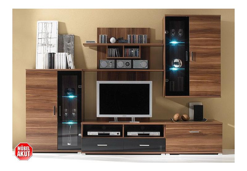 wohnwand free 1 nussbaum schwarz inklusive led ebay. Black Bedroom Furniture Sets. Home Design Ideas