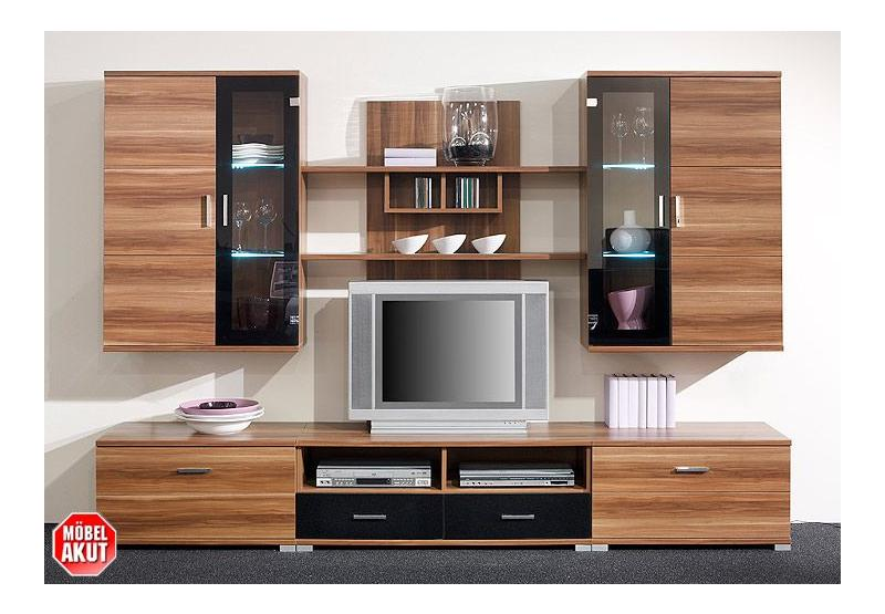 wohnwand free 2 nussbaum schwarz inklusive led ebay. Black Bedroom Furniture Sets. Home Design Ideas
