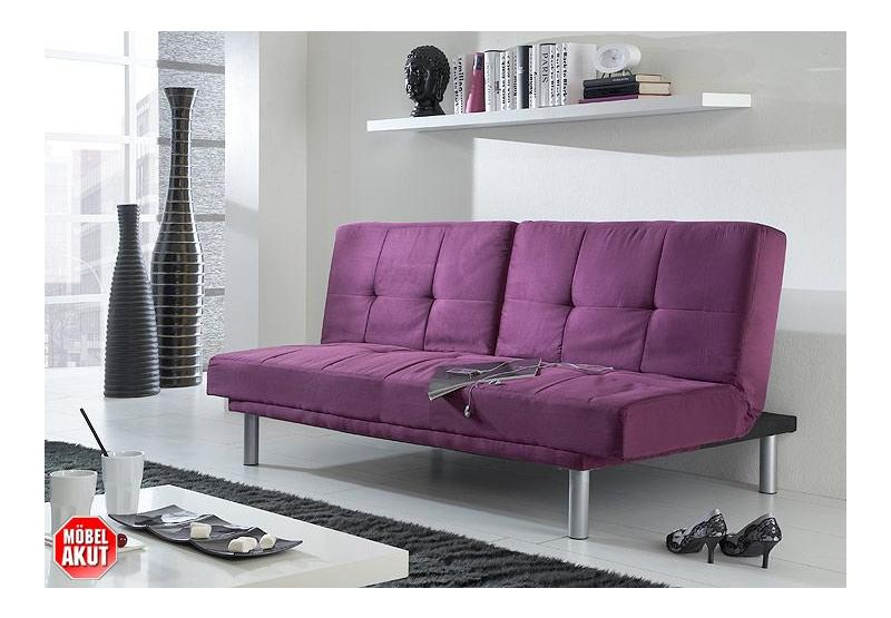 schlafsofa lina sofa in lila mit bettfunktion neu ebay. Black Bedroom Furniture Sets. Home Design Ideas