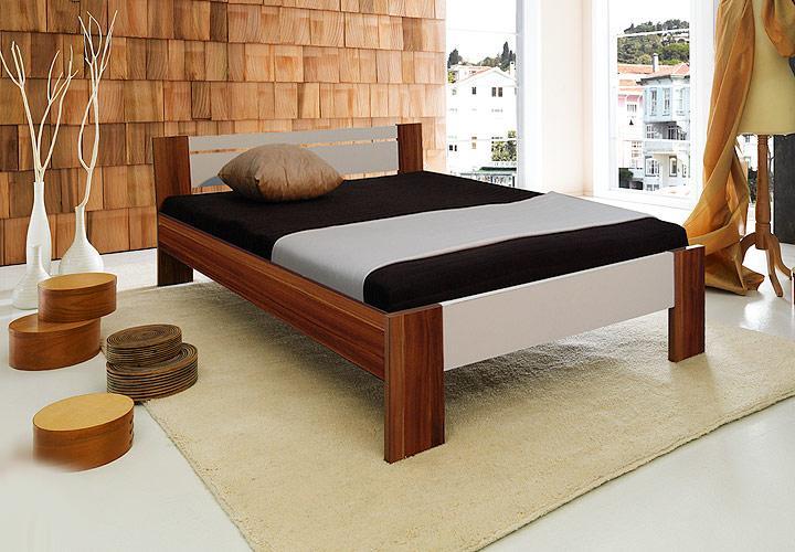 bett vega walnuss wei 140x200 inkl matratze rollrost ebay. Black Bedroom Furniture Sets. Home Design Ideas