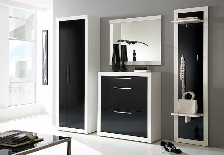 garderoben set beco in wei schwarz hochglanz ebay. Black Bedroom Furniture Sets. Home Design Ideas