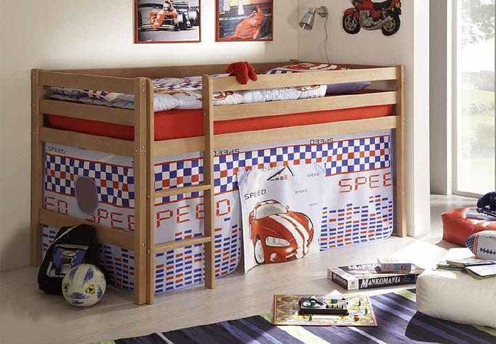 hochbett vitaly kinderbett bett in buche massiv mit leiter. Black Bedroom Furniture Sets. Home Design Ideas