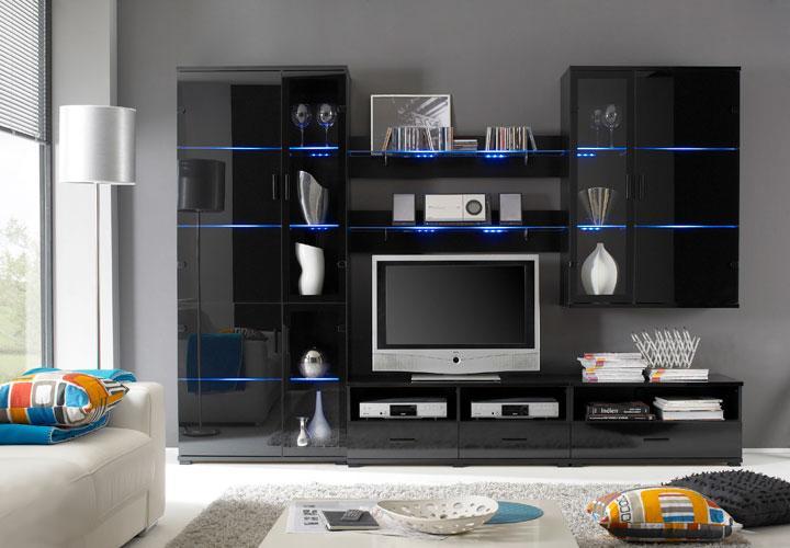coros wohnwand schwarz glas lack inkl led rgb. Black Bedroom Furniture Sets. Home Design Ideas