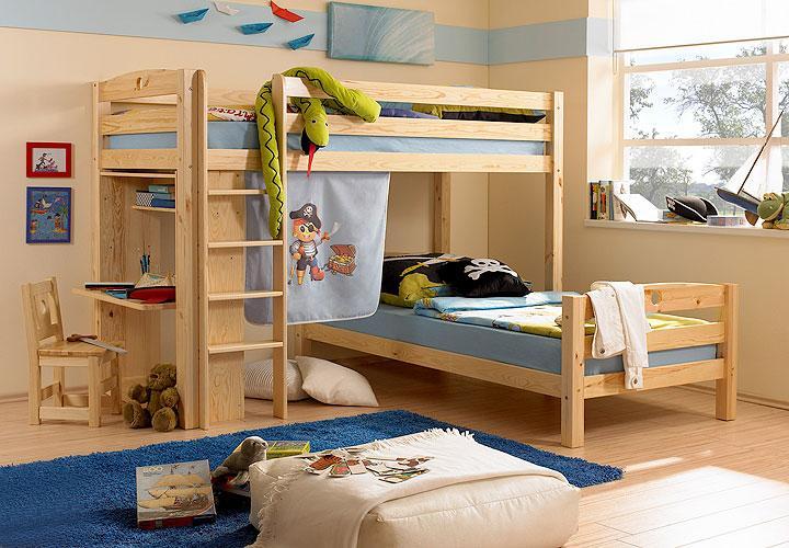 hochbett lars kiefer massiv inkl stuhl. Black Bedroom Furniture Sets. Home Design Ideas