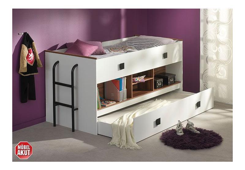 hochbett keny etagenbett wei nussbaum 90x200 ebay. Black Bedroom Furniture Sets. Home Design Ideas