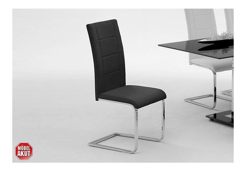 4er set schwingstuhl delos stuhl in schwarz leder ebay. Black Bedroom Furniture Sets. Home Design Ideas