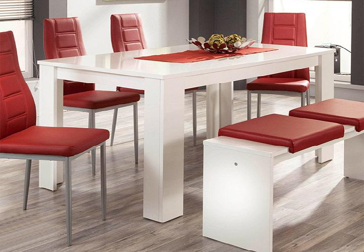 pago esstisch 140 cm wei hochglanz. Black Bedroom Furniture Sets. Home Design Ideas