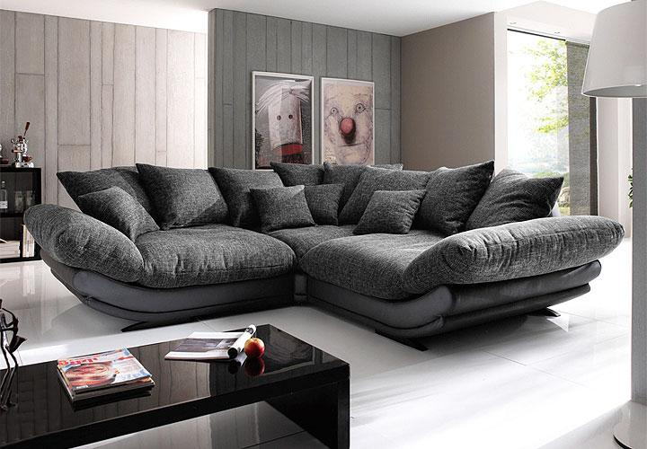 ecksofa gigant sofagarnitur sofa in schwarz strukturstoff ebay. Black Bedroom Furniture Sets. Home Design Ideas
