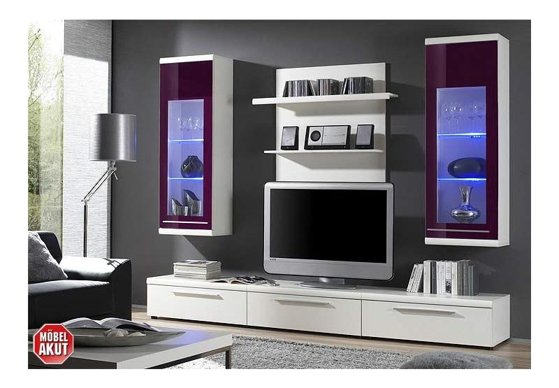 wohnwand tyra wei lila glas led beleuchtung ebay. Black Bedroom Furniture Sets. Home Design Ideas