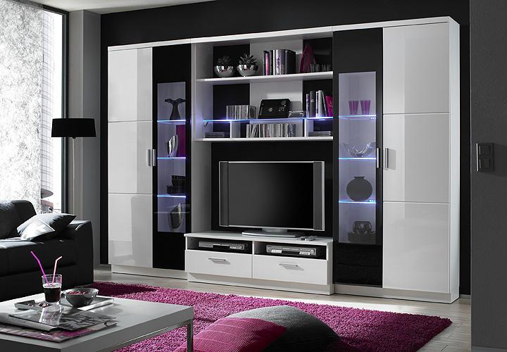 nessi wohnwand wei hochglanz. Black Bedroom Furniture Sets. Home Design Ideas