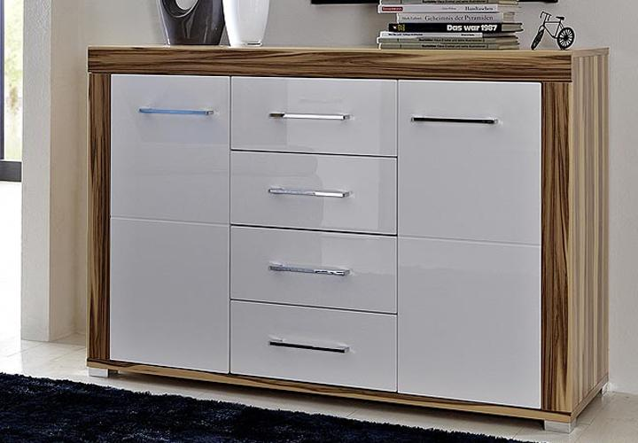 sideboard zento wei hochglanz baltimore walnuss ebay. Black Bedroom Furniture Sets. Home Design Ideas
