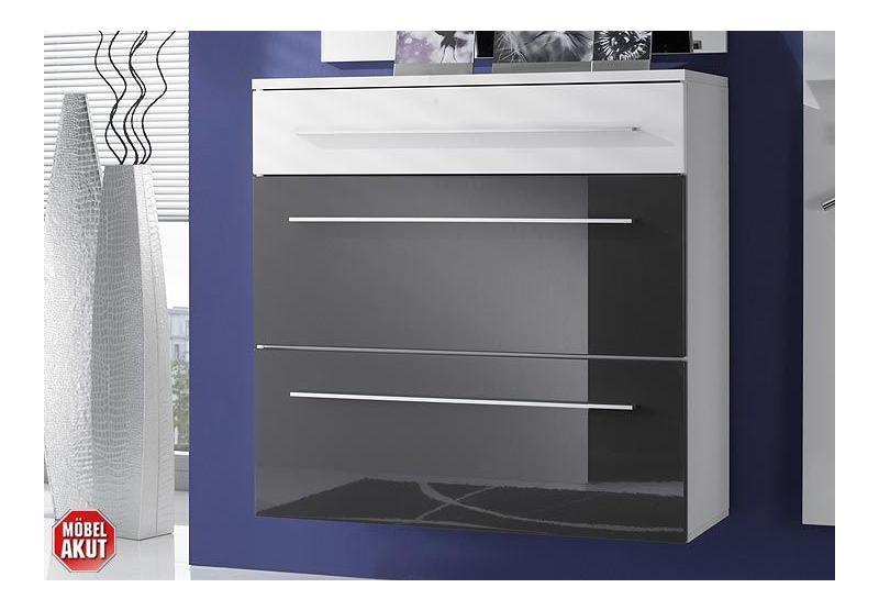 schuhschrank lyon grau wei hochglanz schrank. Black Bedroom Furniture Sets. Home Design Ideas