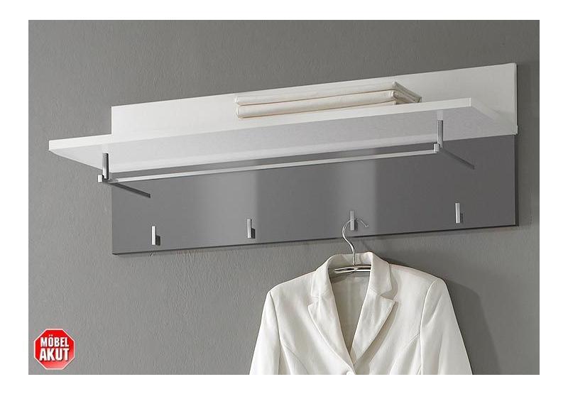 Garderobenpaneel lyon in grau weiss hochglanz neu ebay for Garderobenpaneel grau