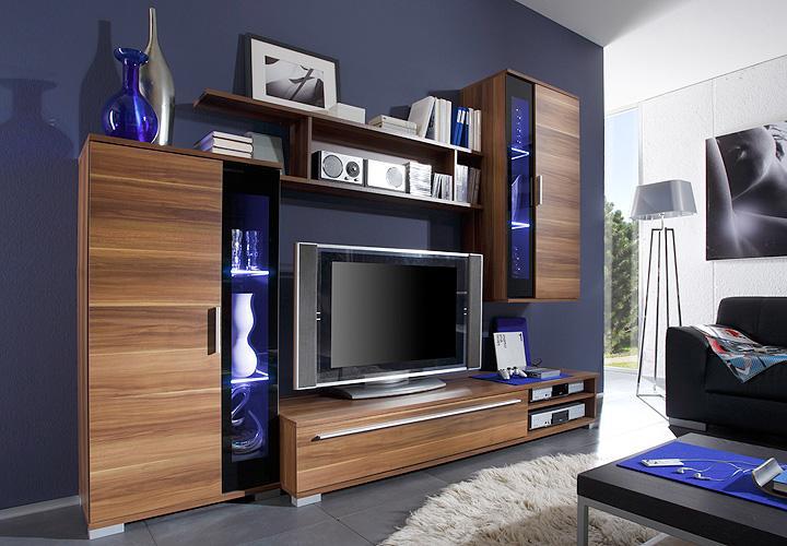 wohnwand sly in kernnussbaum schwarzes glas ebay. Black Bedroom Furniture Sets. Home Design Ideas