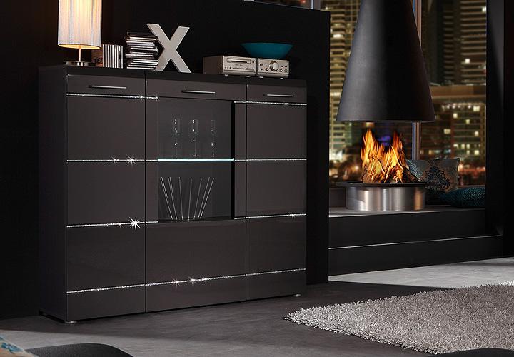 noya highboard i anthrazit hochglanz swarovskisteine. Black Bedroom Furniture Sets. Home Design Ideas