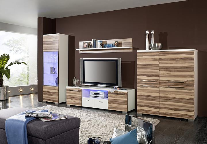 trust wohnwand i wei hochglanz baltimore nussbaum. Black Bedroom Furniture Sets. Home Design Ideas