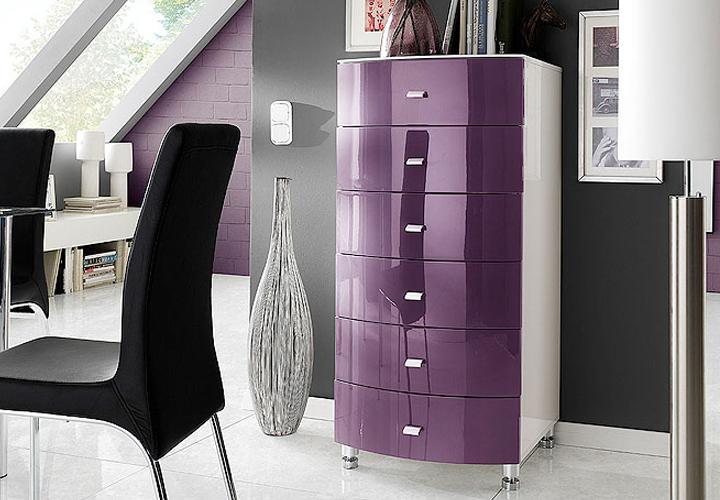 kommode cappo sideboard wei lila hochglanz neu ebay. Black Bedroom Furniture Sets. Home Design Ideas