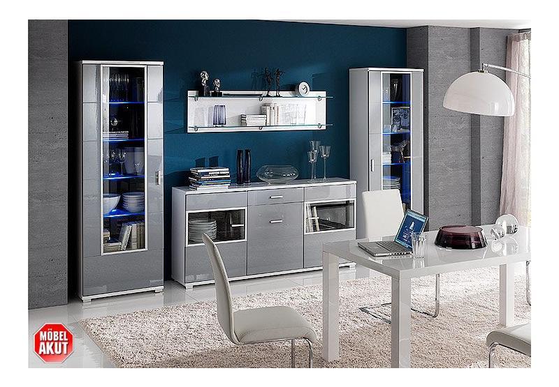 vitrine granada rechts schrank grau hochglanz neu ebay. Black Bedroom Furniture Sets. Home Design Ideas