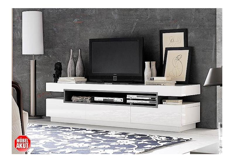 tv board numa lowboard in wei hochglanz neu ebay. Black Bedroom Furniture Sets. Home Design Ideas