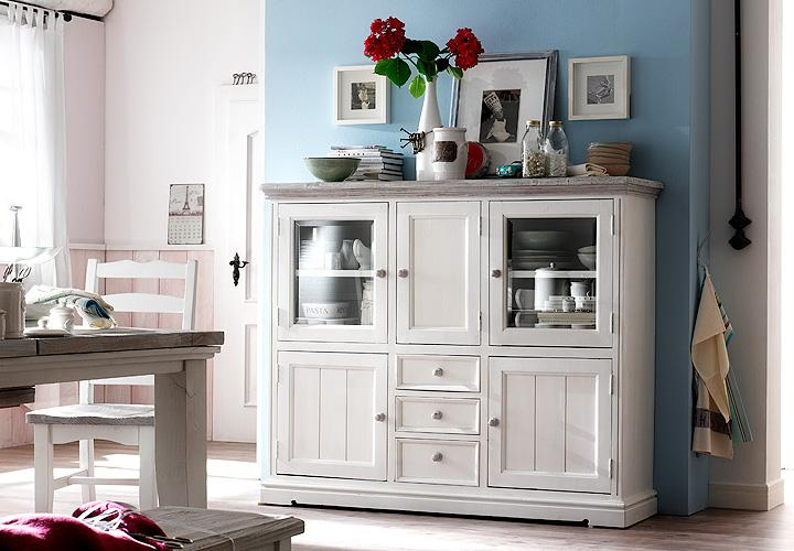 highboard opera kommode in kiefer massiv wei neu ebay. Black Bedroom Furniture Sets. Home Design Ideas