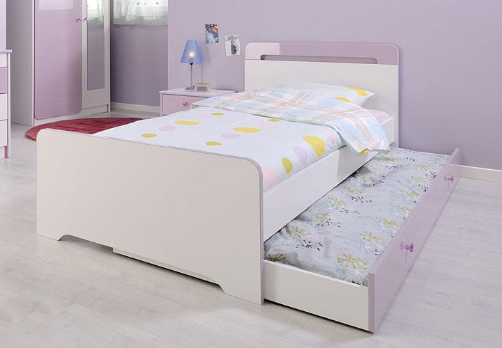 Bett MADAME in weiß Dekor und lila Hochglanz 90x200 cm