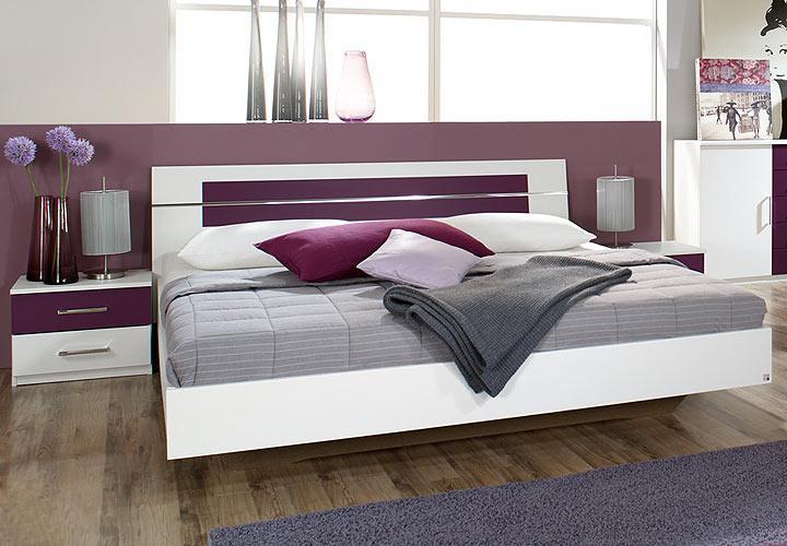 bettanlage burano in wei und brombeer bett 180x200 2 nakos. Black Bedroom Furniture Sets. Home Design Ideas