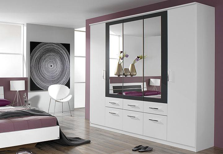 burano kleiderschrank wei und grau metallic. Black Bedroom Furniture Sets. Home Design Ideas