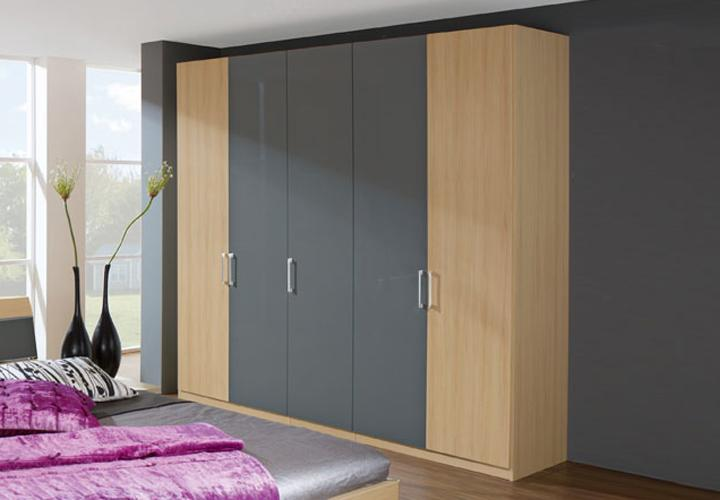 sina kleiderschrank i buche grau hochglanz. Black Bedroom Furniture Sets. Home Design Ideas