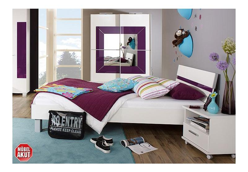 3 tlg jugendzimmer hotspot in wei lila neu ebay. Black Bedroom Furniture Sets. Home Design Ideas