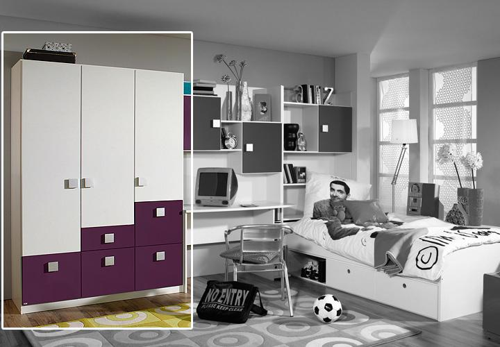 skate kleiderschrank lila 136 cm wei lila. Black Bedroom Furniture Sets. Home Design Ideas