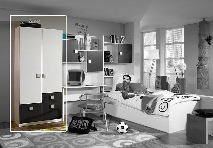 skate kleiderschrank grau 90 cm wei grau metallic. Black Bedroom Furniture Sets. Home Design Ideas