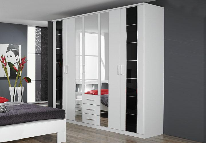 aarau kleiderschrank schwarz wei schwarz hochglanz chrom. Black Bedroom Furniture Sets. Home Design Ideas
