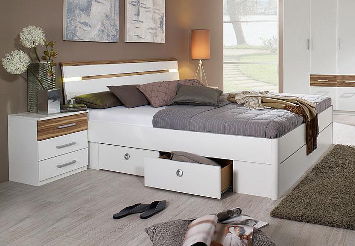 rasa bett 180x200 wei baltimore walnuss. Black Bedroom Furniture Sets. Home Design Ideas