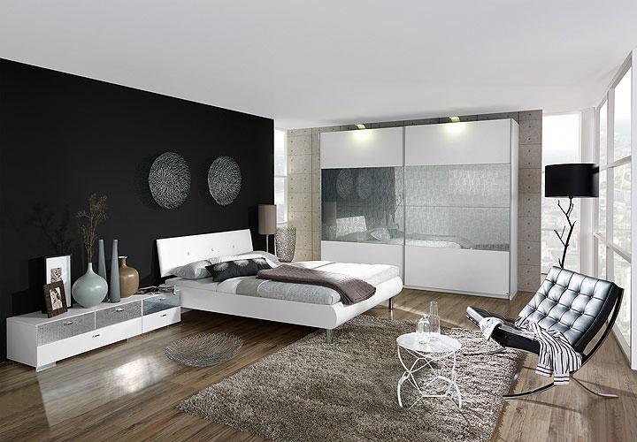 schlafzimmer set calua in wei glas swarovski ebay. Black Bedroom Furniture Sets. Home Design Ideas