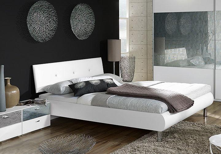 calua bett 160x200 cm leder wei swarovski steinen. Black Bedroom Furniture Sets. Home Design Ideas