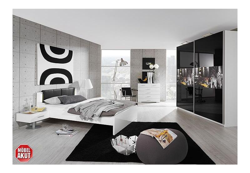 bett limit in wei und leder schwarz mit kopfteil und led. Black Bedroom Furniture Sets. Home Design Ideas