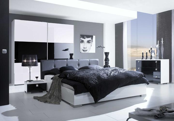 maxy schlafzimmer set i schwarz wei hochglanz. Black Bedroom Furniture Sets. Home Design Ideas