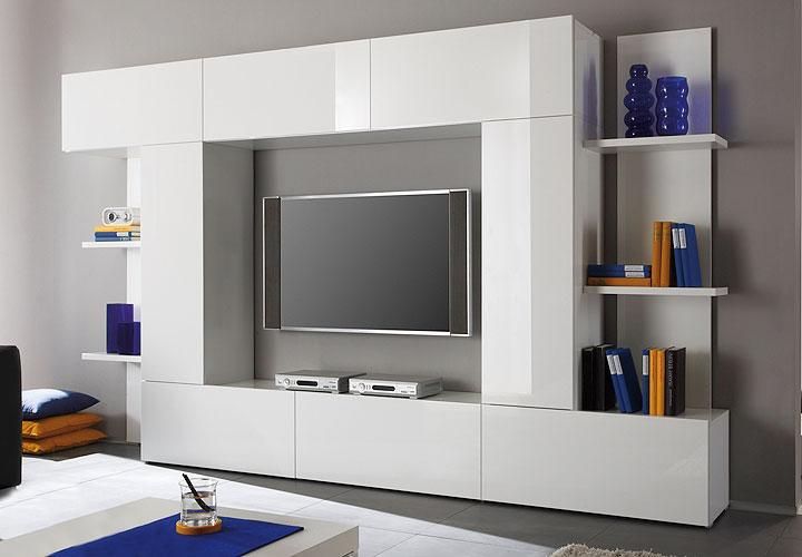 DOREEN Wohnwand Weiß echt Hochglanz