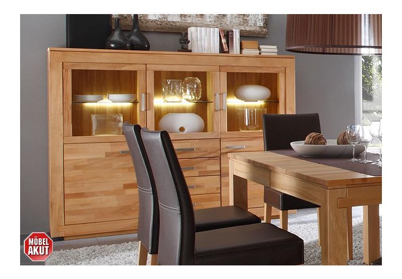 highboard frame in kernbuche massiv mit beleuchtung ebay. Black Bedroom Furniture Sets. Home Design Ideas