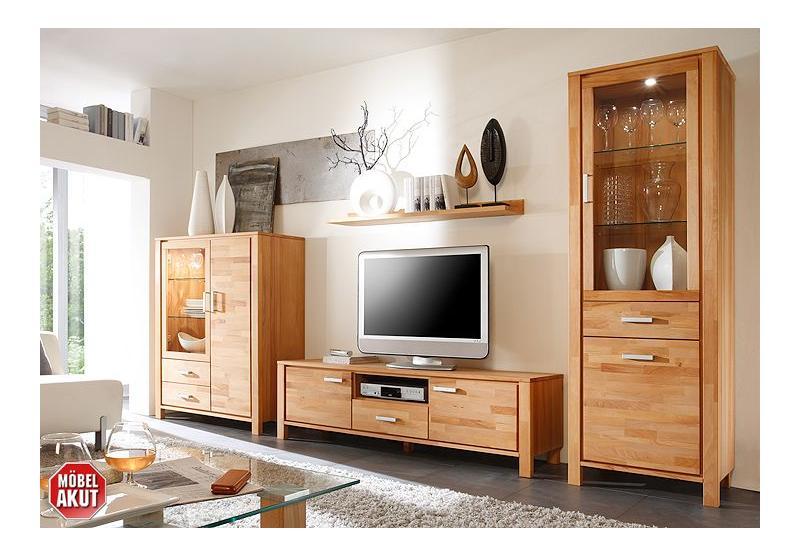 malibu wohnwand kernbuche massiv. Black Bedroom Furniture Sets. Home Design Ideas