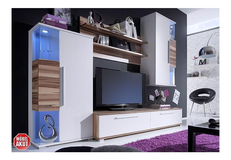 wohnwand berry anbauwand in wei baltimore walnuss neu ebay. Black Bedroom Furniture Sets. Home Design Ideas