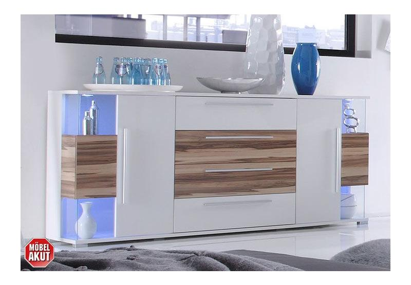 sideboard berry kommode in wei baltimore walnuss neu ebay. Black Bedroom Furniture Sets. Home Design Ideas