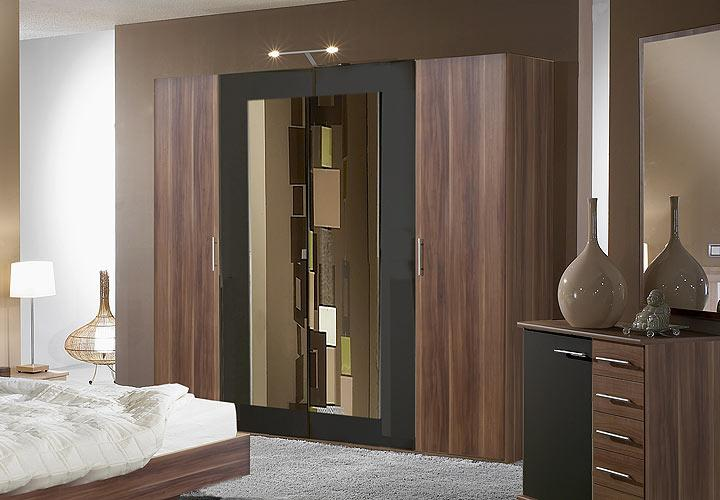 napoli kleiderschrank ii nussbaum schwarz. Black Bedroom Furniture Sets. Home Design Ideas