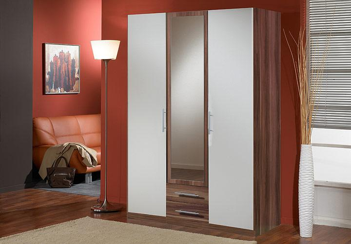 kleiderschrank clip schrank nussbaum wei 135 cm ebay. Black Bedroom Furniture Sets. Home Design Ideas
