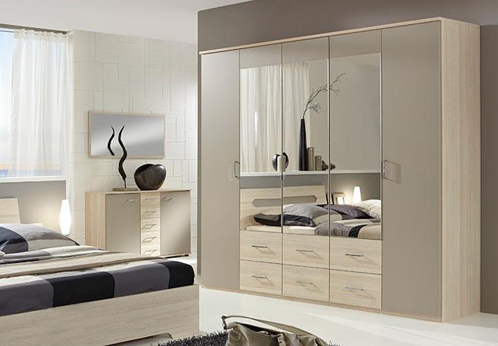 bolonia kleiderschrank 225 cm i sandgrau strukturesche. Black Bedroom Furniture Sets. Home Design Ideas