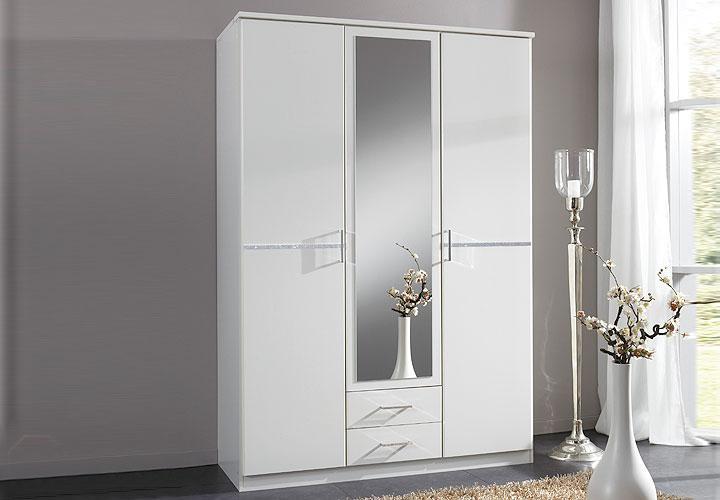 komaro kleiderschrank 135 cm wei strass. Black Bedroom Furniture Sets. Home Design Ideas