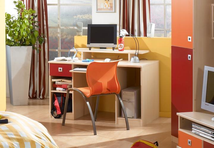 Sando schreibtisch rot i ahorn rot orange for Schreibtisch ahorn massiv
