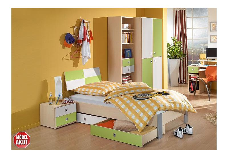3 tlg jugendzimmer set sando ahorn gr n wei ebay. Black Bedroom Furniture Sets. Home Design Ideas