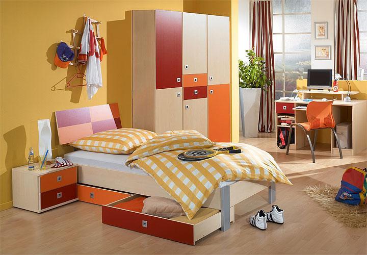 jugendzimmer sunny 3 teilig ahorn rot orange. Black Bedroom Furniture Sets. Home Design Ideas